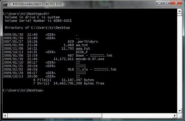 Windows Vista のコマンドプロン...